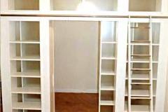Raumteiler mit Schiebetüren - Esche weiß lackiert, Glas