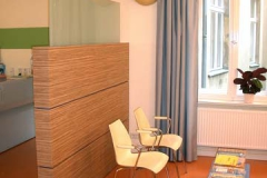 Raumteiler mit Zeitschriftentisch  (Arztpraxis) - Zebrano-Holz mit farbigem Schichtstoff
