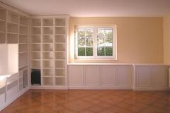 Bücherregal mit sideboard und Tisch - weiß lackiert