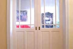 Schiebetür, zweiflügelig - Massivholz, weiß lackiert